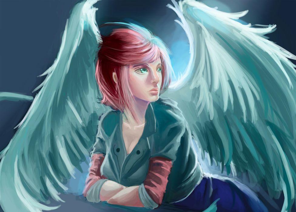 Angel Wings Redhead girl Fantasy Girls wallpaper