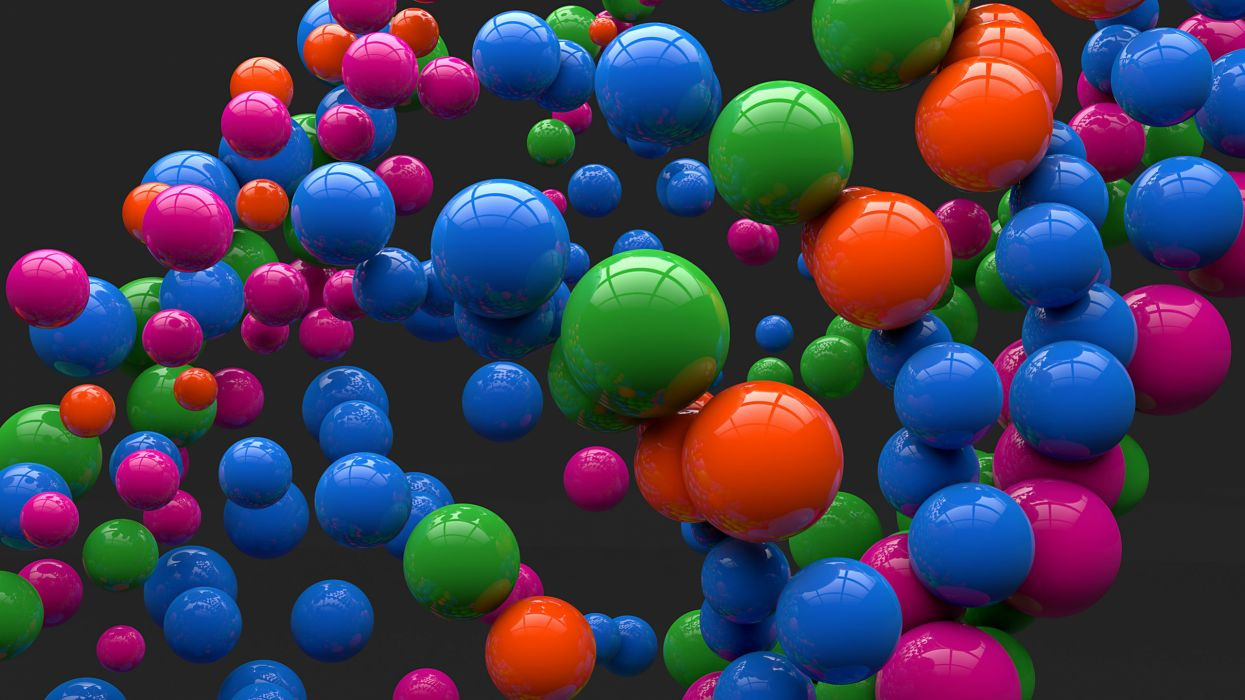 art balls spheres balls gray background reflection color wallpaper
