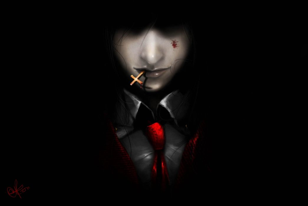 Art Hellsing Alucard demon vampire man cross dark background tie blood wallpaper