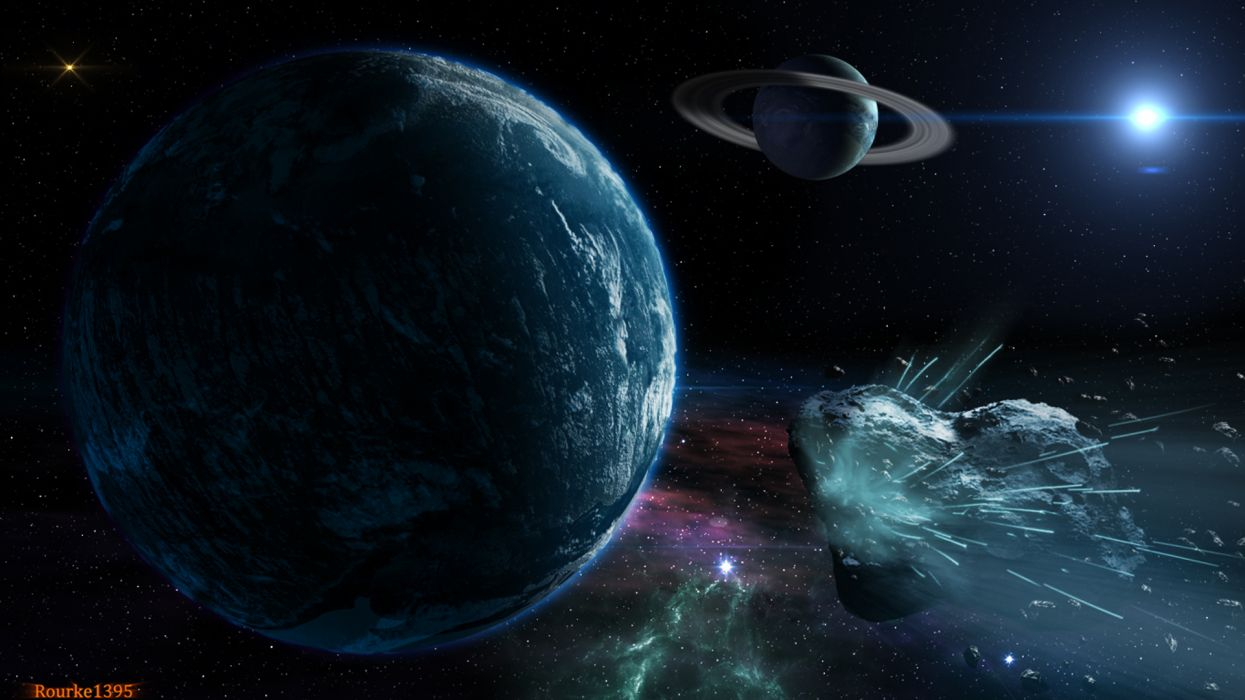 Asteroid Planet Space sci-fi        f wallpaper