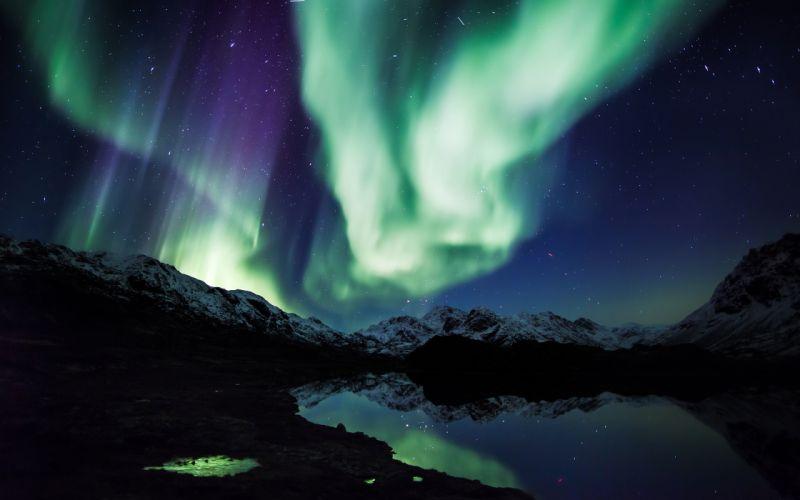 Aurora Borealis Northern Lights Night Green Stars Mountains Landscape Lake Reflection wallpaper