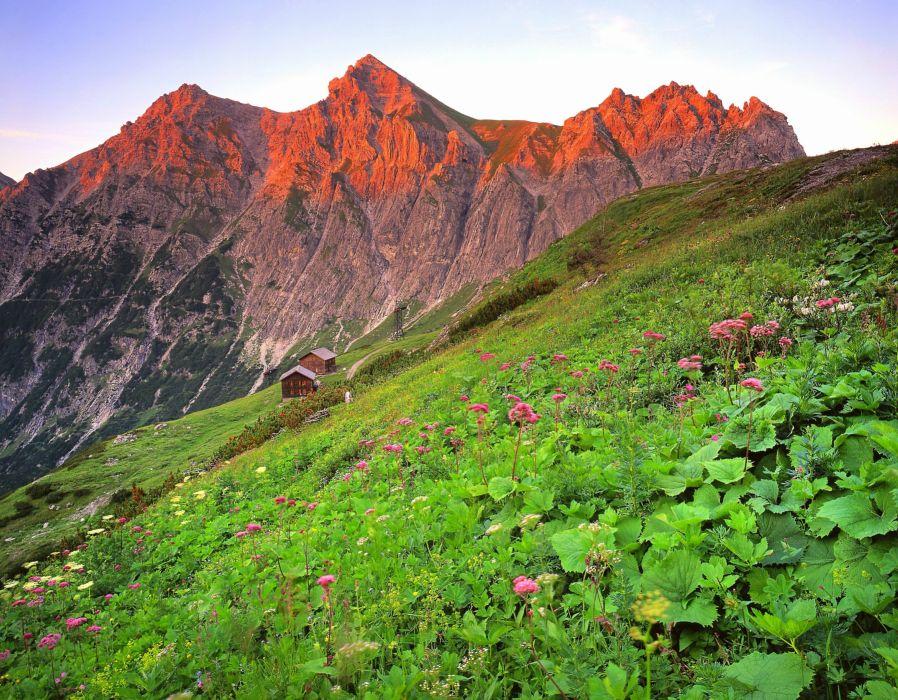 Austria Brandnertal mountain house landscape wallpaper