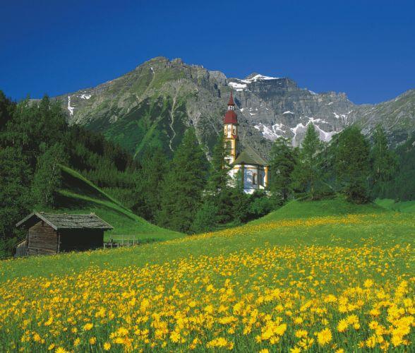 Austria mountains house church landscape wallpaper