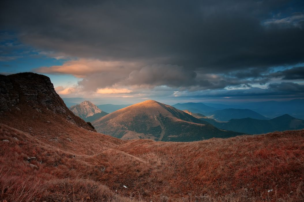 Carpathians mountains sunset landscape wallpaper