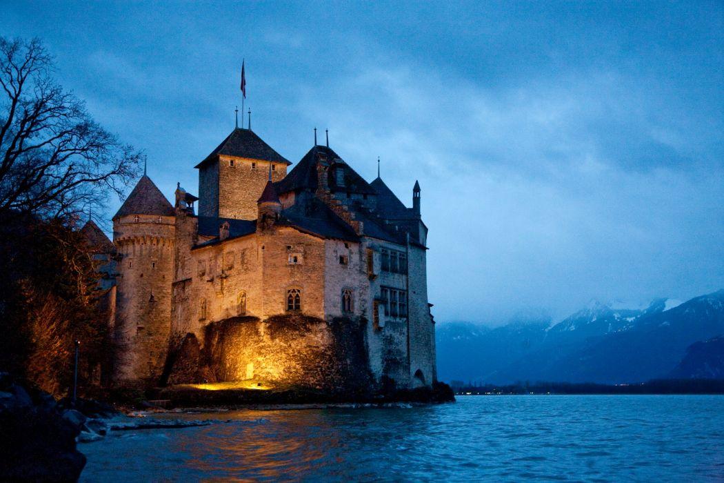 Castles Switzerland Chillon wallpaper