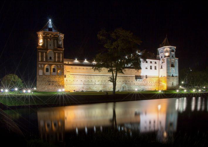 Castles Belarus Night Cities wallpaper