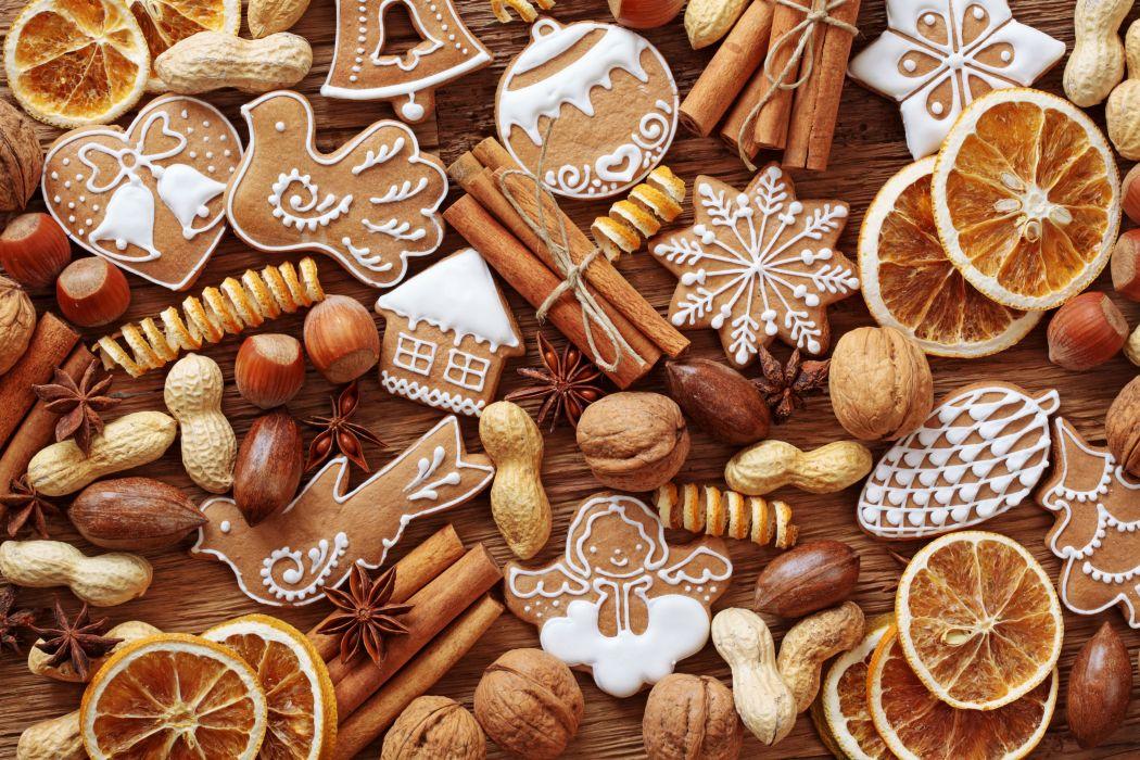 Cinnamon Nuts Cookies Orange fruit Food wallpaper