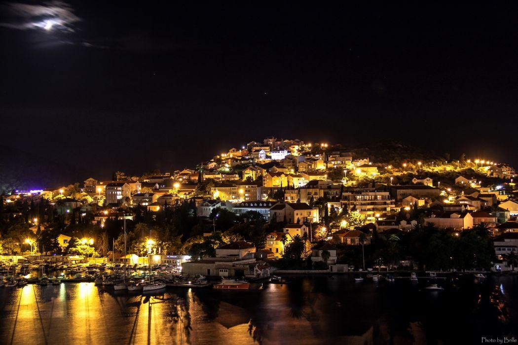Croatia Houses Dubrovnik Night Cities wallpaper