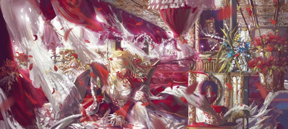 fate stay night blonde hair dress fate extra fate stay night petals saber saber extra stu dts yellow eyes wallpaper