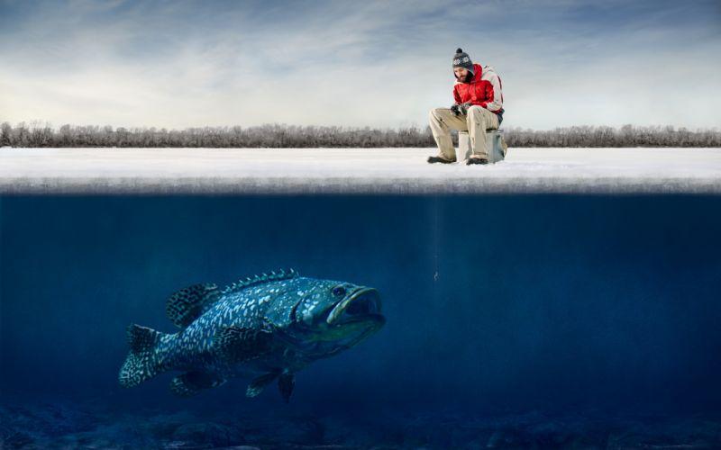funny guy ice big fish Hooks humor fisherman winter fishing g wallpaper