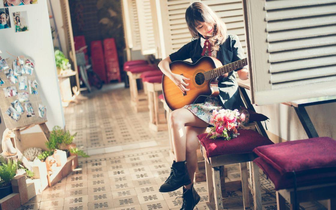 girl guitar music mood asian      g wallpaper