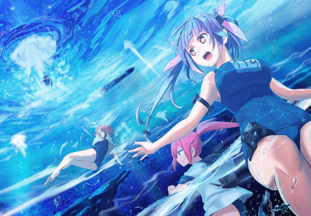kantai collection blue hair brown hair i-19 (kancolle) i-58 (kancolle) imai hiyoko long hair red hair ribbons school swimsuit short hair swimsuit twintails wallpaper