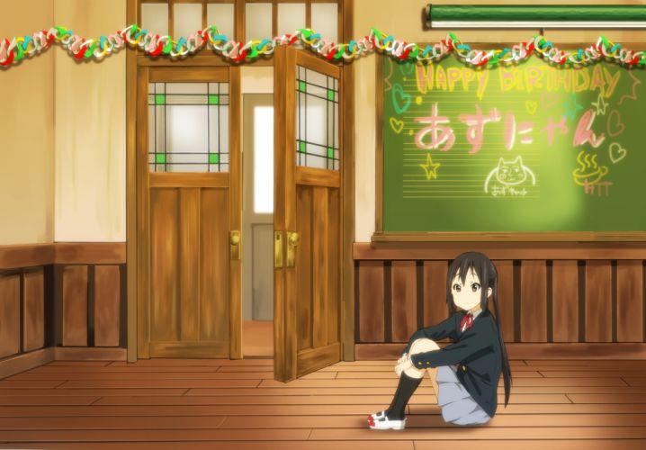 k-on! black hair brown eyes kneehighs k-on! long hair nakano azusa seifuku watanore wallpaper