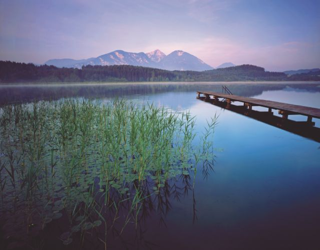 lake bridge mountains landscape wallpaper