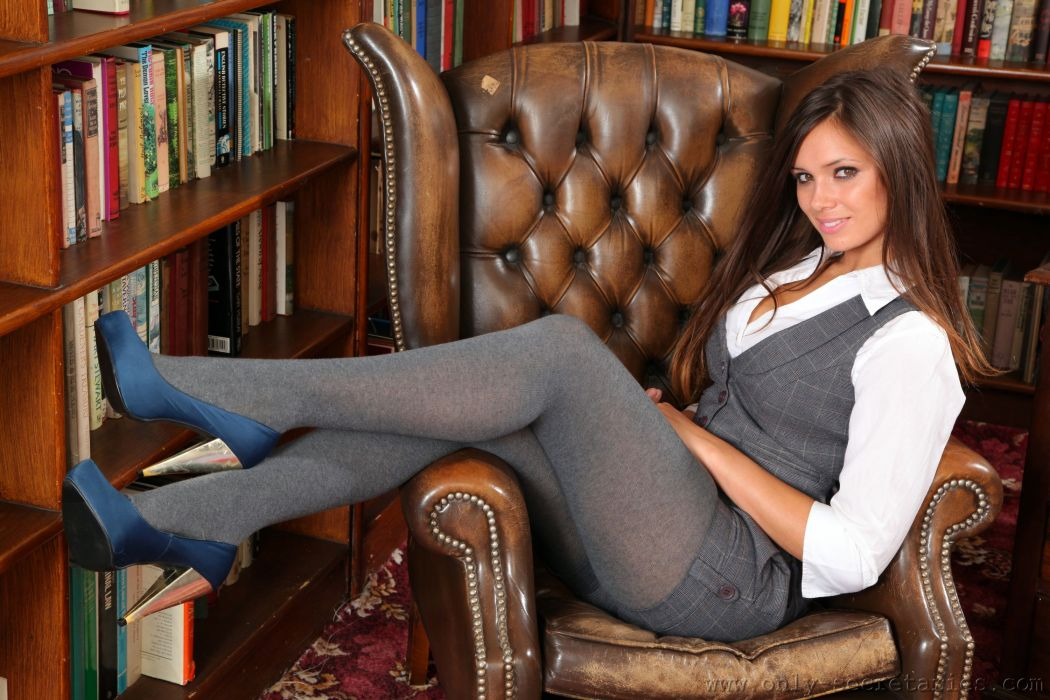 Louisa Marie Pantyhose Armchair Library Girls wallpaper