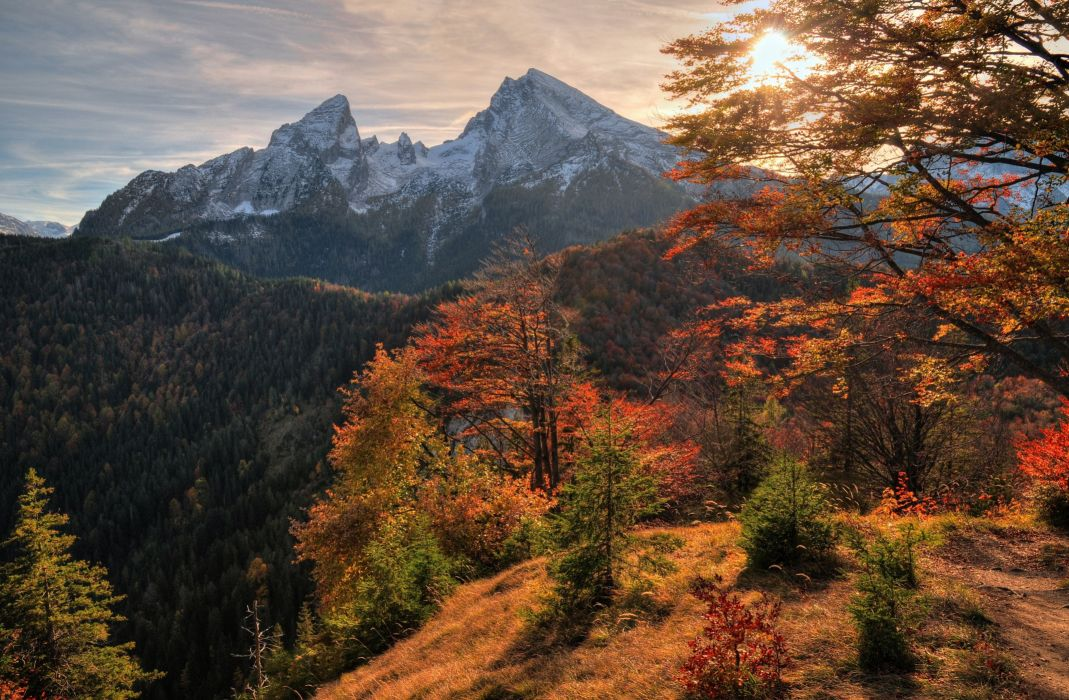 mountains autumn trees landscape wallpaper