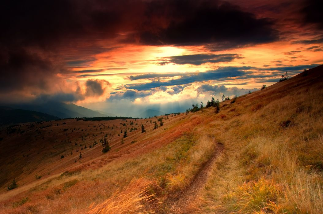 mountains hills autumn sunset trail landscape wallpaper