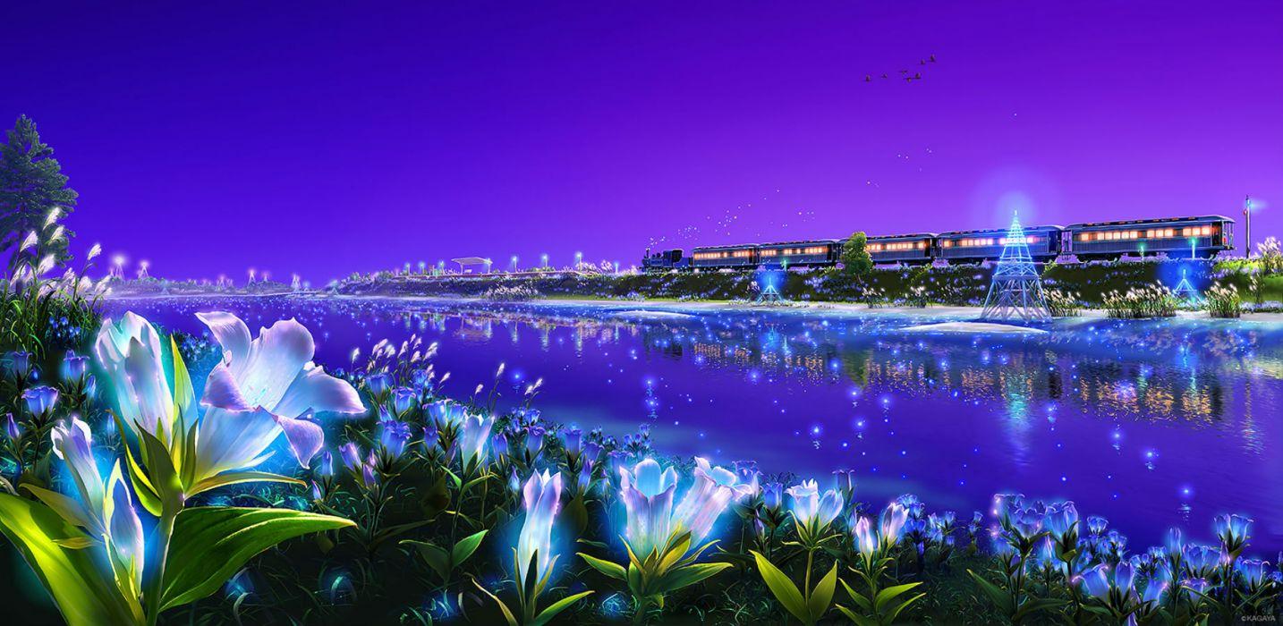 original animal bird flowers grass kagaya landscape nobody original purple scenic sky train water wallpaper