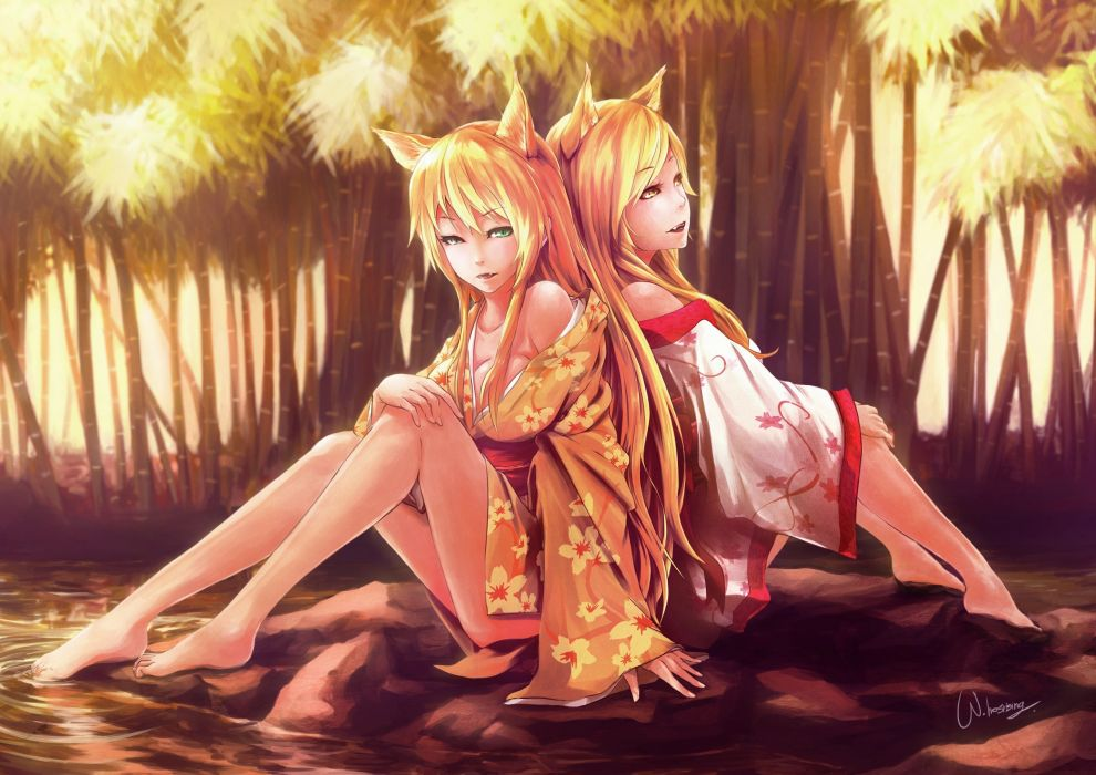 original Kitsune Two Kimono Legs Anime Girls wallpaper