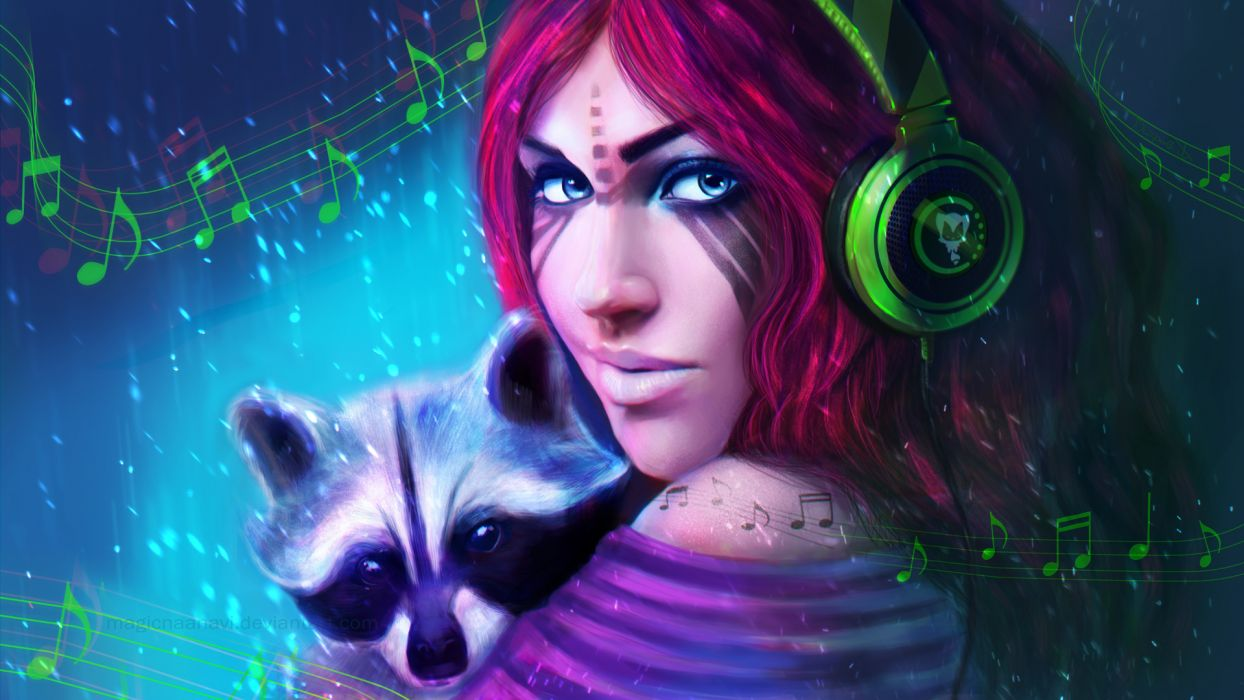 Painting Art Raccoon Headphones Redhead girl Glance Face Fantasy Girls wallpaper