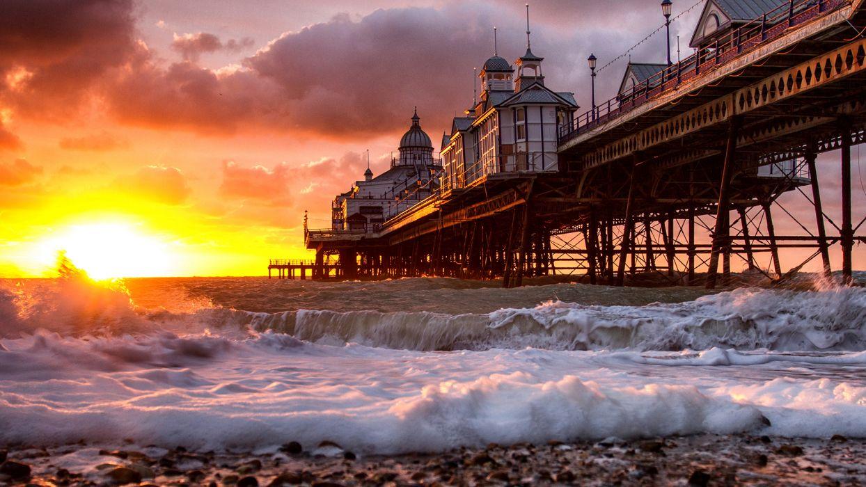 Pier Sunset Sunlight Ocean Beach     g wallpaper