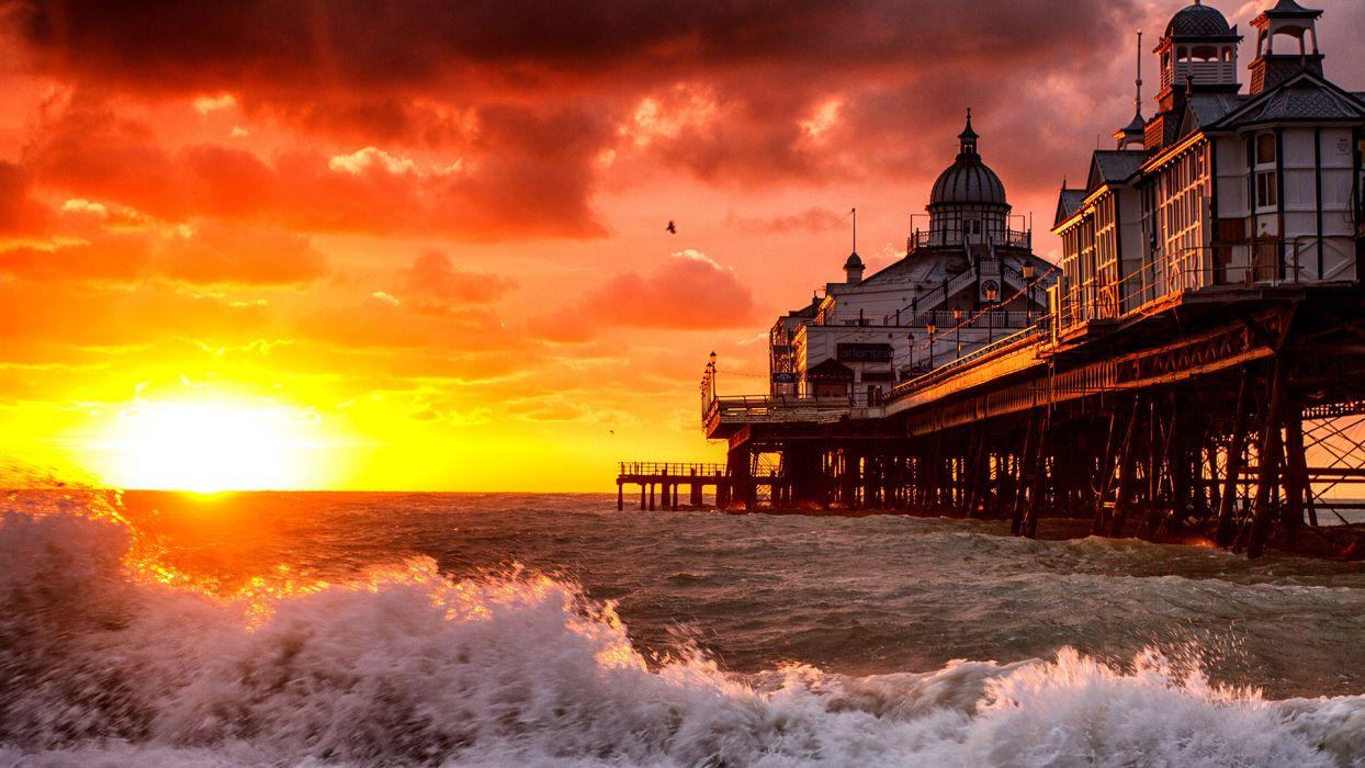 Pier Sunset Sunlight Ocean Beach wallpaper