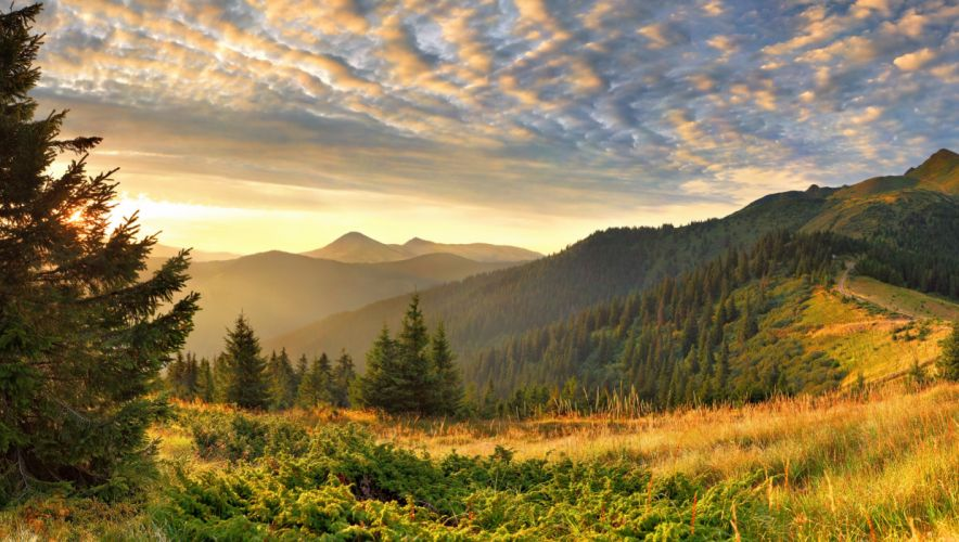 Scenery Sky Mountains Grass Nature wallpaper