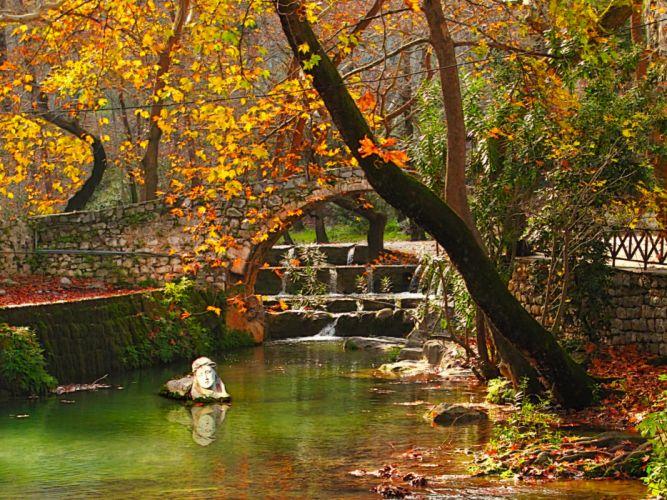 Seasons Autumn Bridges Greece Viotia Nature wallpaper