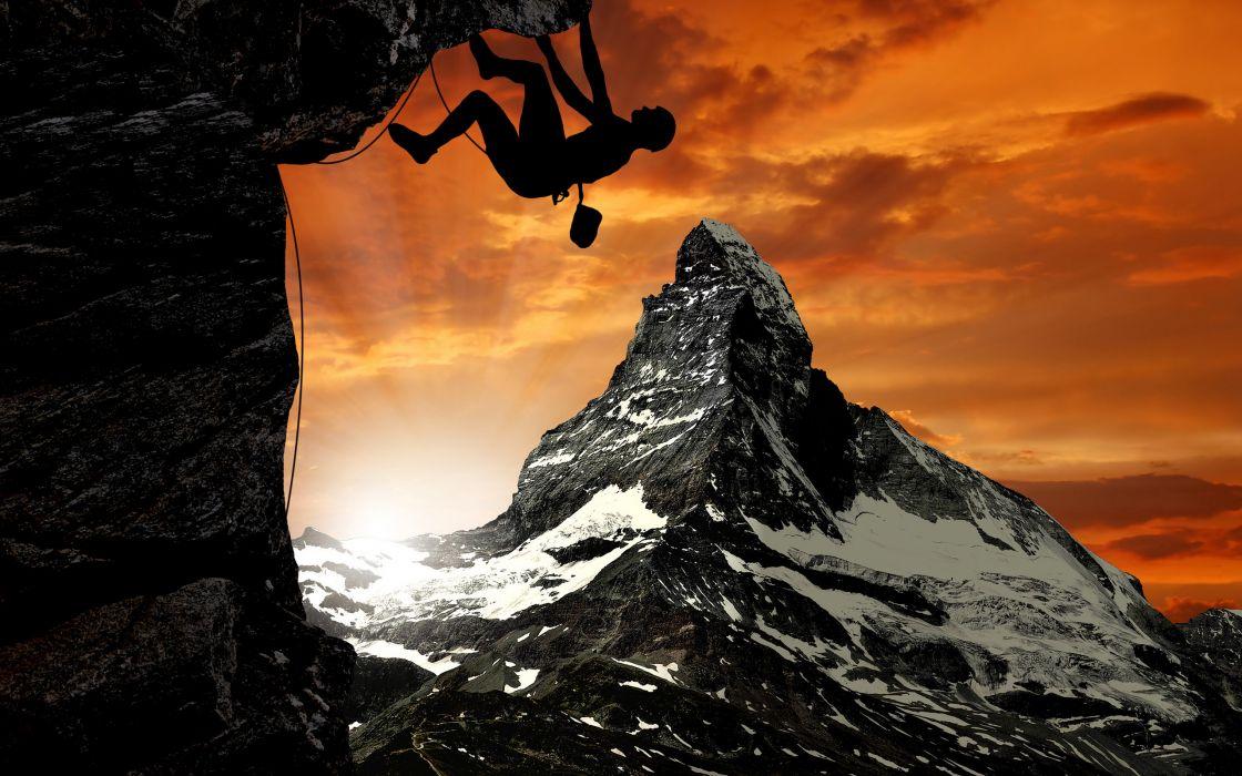 sky mountain Matterhorn Alps climb climbing wallpaper