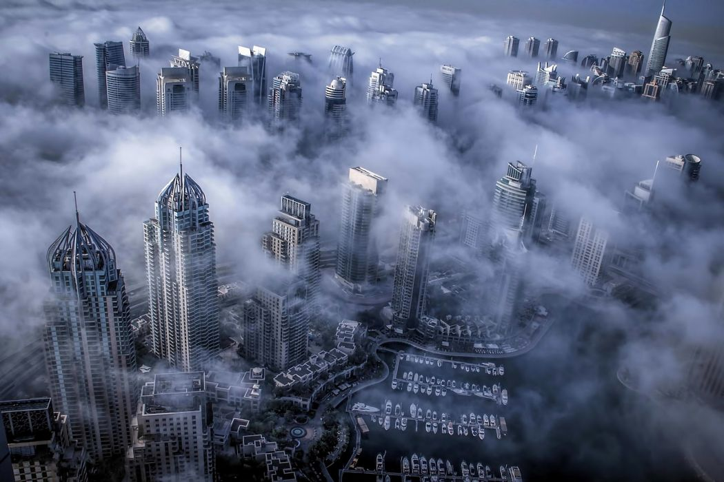 skyscrapers fog Dubai UAE wallpaper