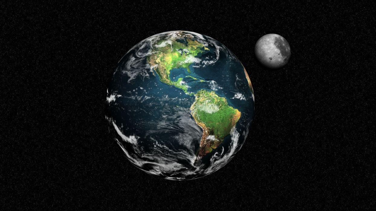 space stars planets Zamlya moon earth wallpaper
