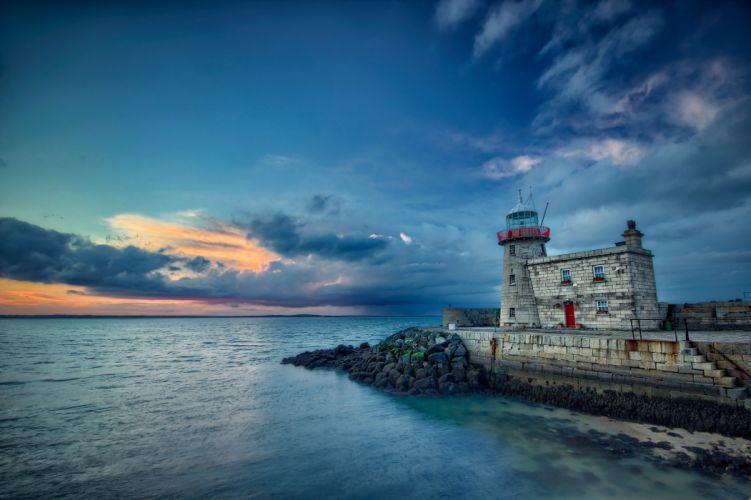 sunset sea lighthouse landscape wallpaper