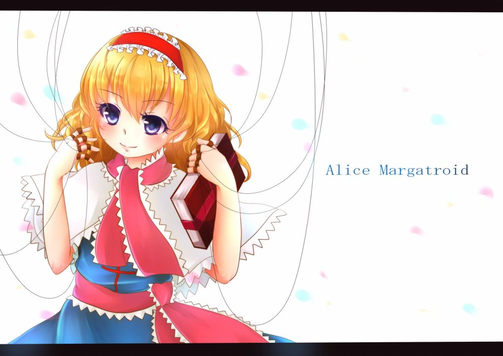 touhou alice margatroid blonde hair blue eyes book dress headband mochinya21 short hair touhou wallpaper