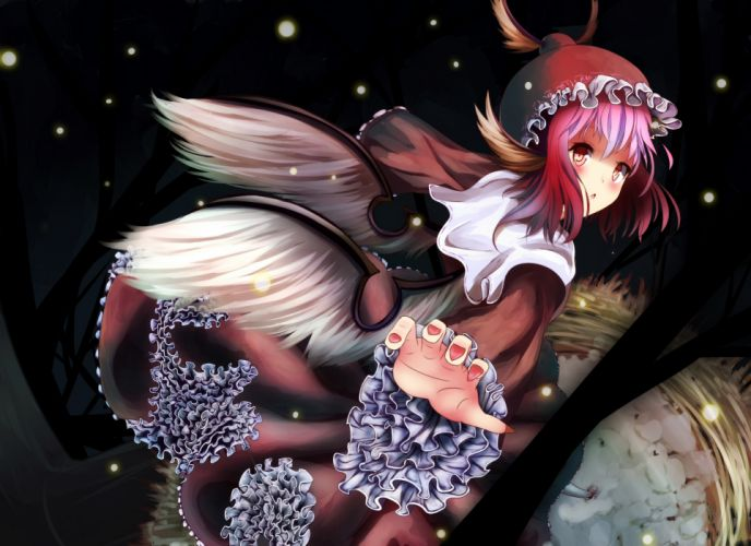 touhou animal ears dress hat hinauri (nurupon) mystia lorelei pink hair short hair snow touhou wings wallpaper