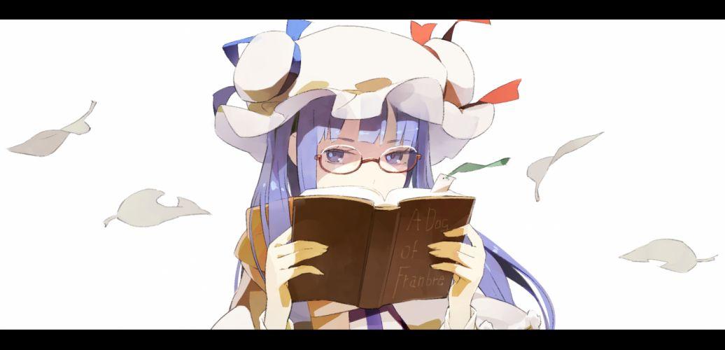 touhou blue eyes blue hair book glasses hat patchouli knowledge shihou (g-o-s) touhou wallpaper