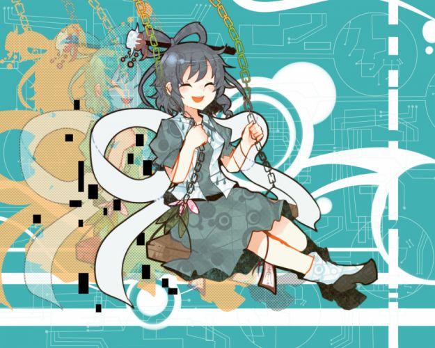 touhou blue hair chain dress itomugi-kun kaku seiga short hair socks touhou zoom layer wallpaper