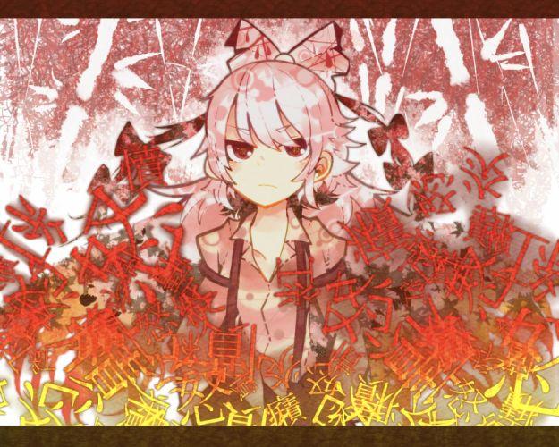 touhou bow brown eyes fujiwara no mokou itomugi-kun long hair pink hair ribbons touhou wallpaper