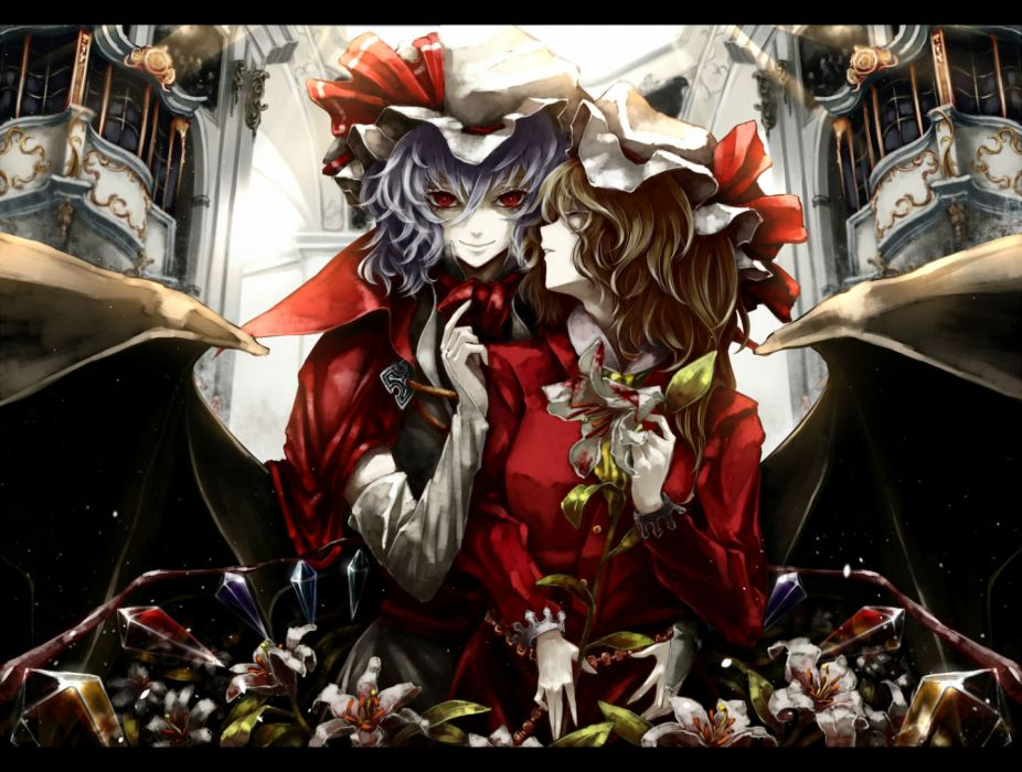 touhou girls akihira fujinohara flandre scarlet remilia scarlet touhou wallpaper