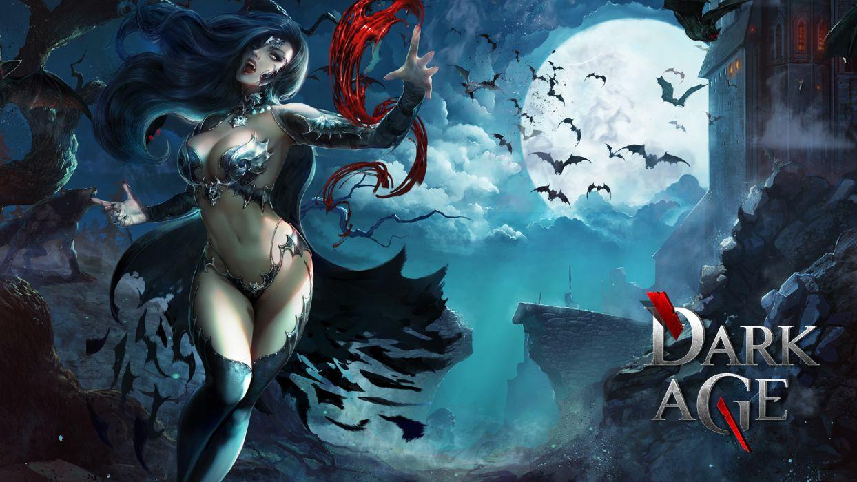 Vampire Dark Age ( Forsaken World ) Bats Moon Games Girls Fantasy wallpaper