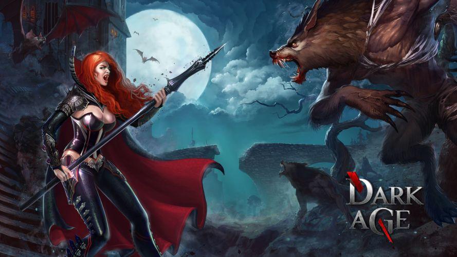 Vampire Supernatural beings Battle Dark Age ( Forsaken World ) Dark Age Moon Redhead girl Games Girls fantasy wallpaper