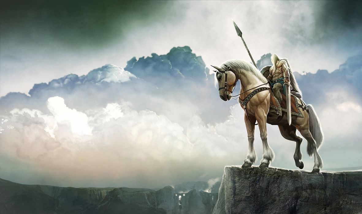 Warrior Horses Spear Clouds Fantasy wallpaper