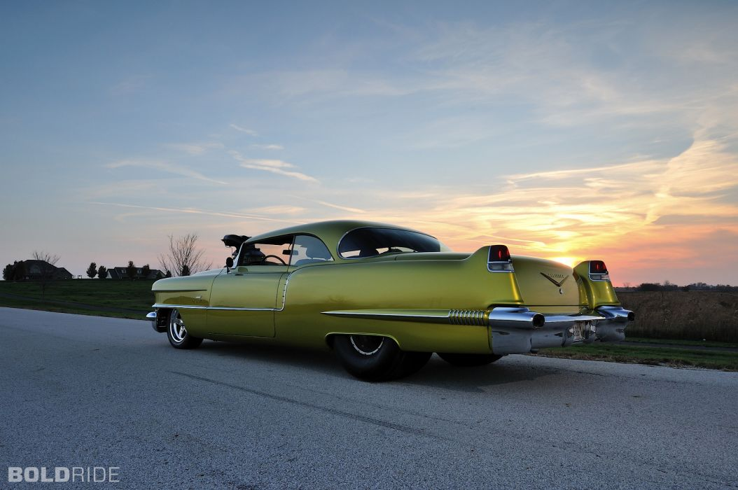 1956 Cadillac Coupe deVille hot rod rods drag race racing retro  f wallpaper