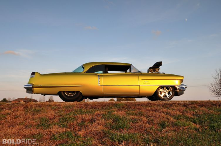1956 Cadillac Coupe deVille hot rod rods drag race racing retro d wallpaper