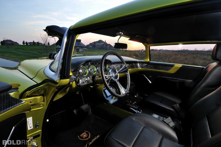 1956 Cadillac Coupe deVille hot rod rods drag race racing retro interior f wallpaper
