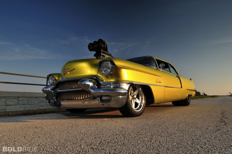 1956 Cadillac Coupe deVille hot rod rods drag race racing retro w wallpaper