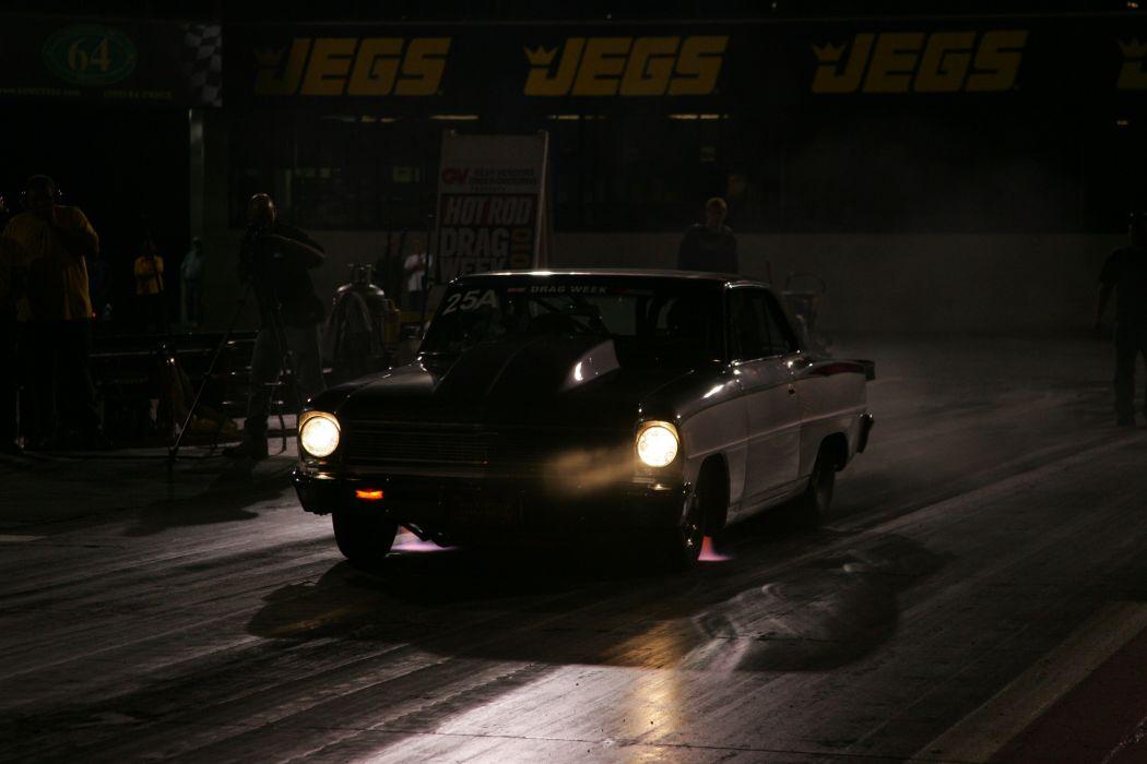 hot rod rods drag race racing chevrolet nova night lights       d wallpaper