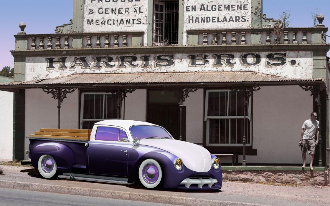 VOLKSWAGON hot rod rods v-w custom pickup     h wallpaper