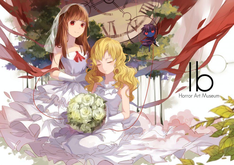 ib-anime i-b girls blonde hair brown hair doll elbow gloves flowers ib ib (ib) long hair mary (ib) red eyes ribbons rose wedding dress xiao zhangyu wallpaper