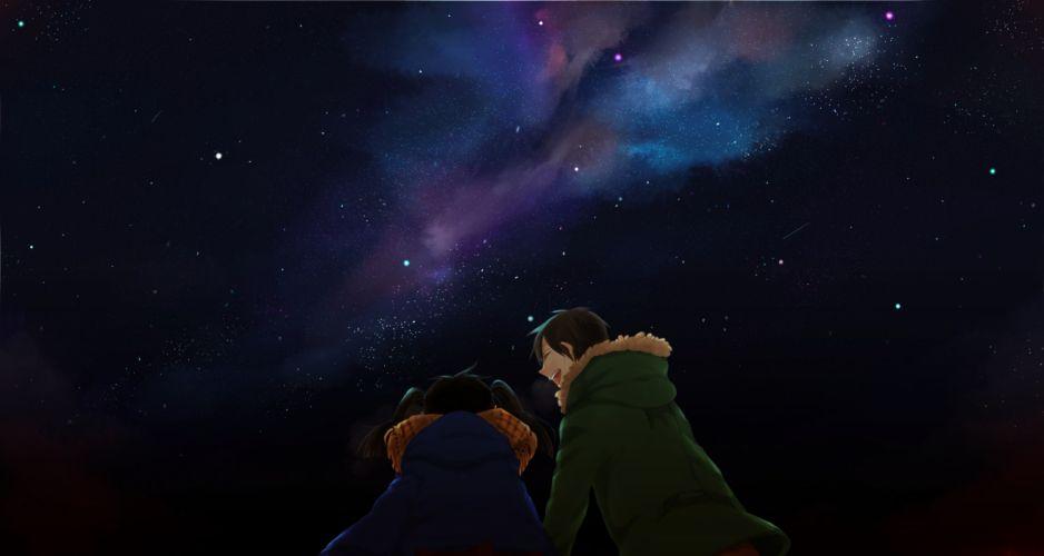 kagerou project enomoto takane kagerou project kokonose haruka komai (komawashi) night sky stars wallpaper