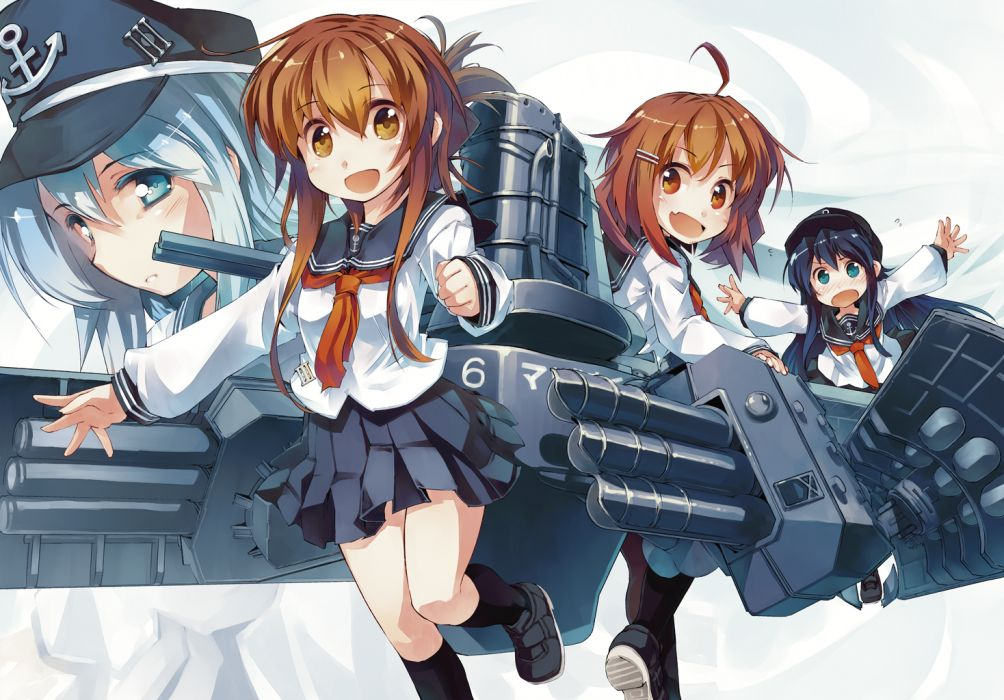 kantai collection black hair blue eyes blue hair blush brown eyes brown hair hat hibiki (kancolle) inazuma (kancolle) kantai collection long hair seifuku short hair wallpaper
